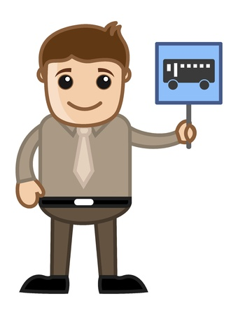 Cartoon Business Character - Man Showing Bus Sign Vector