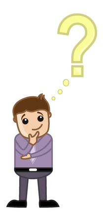 FAQ Concept - Man Thinking With Question Mark - Business Cartoon Vector
