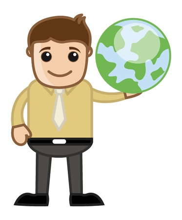 Man Holding Earth - Travel and World Tour Concept - Business Cartoon Vector