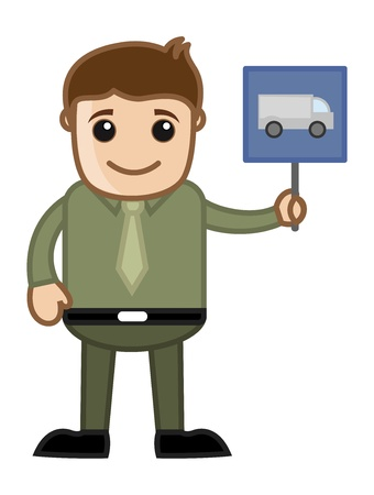 Cartoon Business Character - Man Showing Truck and Vehicle Sign Vector