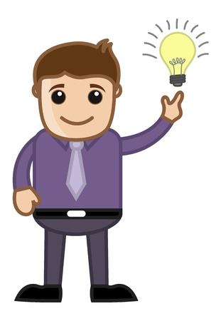 Cartoon Business Character - Got an Idea - Bulb Lit Up Vector