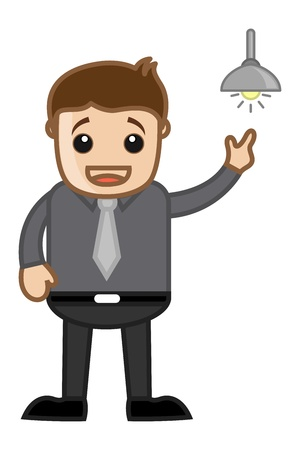 Idea Bulb Concept Cartoon Business Character Man Vector