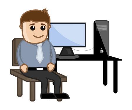 Computer Teacher Sitting on Computer Desk Stock Vector - 21983831