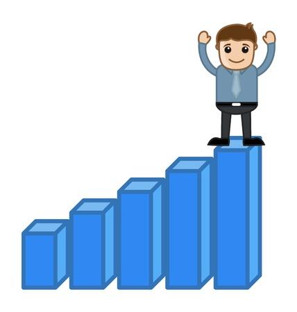 osiągnął: Dotarł do Celu - Statystyki - Business Cartoon