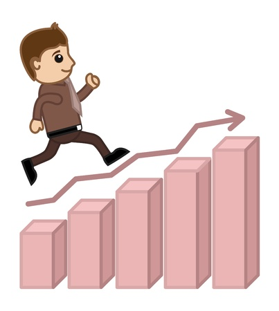 towards: Going Towards Success - Business Cartoon