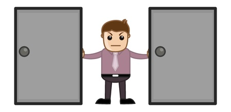 Two Door - Choice Concept - Business Cartoon Vector