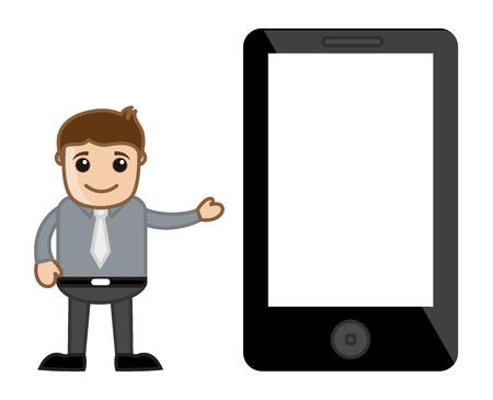 Showing a Blank Screen - Presentation on Screen Concept - Business Cartoon Vector