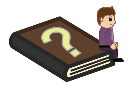 FAQ Book - Business Cartoon Vector
