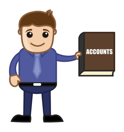 tax attorney: Showing Accounts Book - Business Cartoon