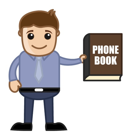 directory book: Showing Phone Book Directory - Business Cartoon