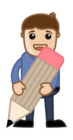 Holding a Pencil - Business Cartoon Vector