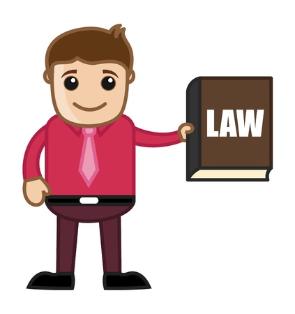 Showing Law Book - Know the Law - Business Cartoon Vector