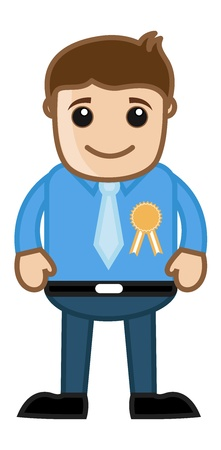 Man Awarded with a Badge - Business Cartoon Stock Vector - 21989555