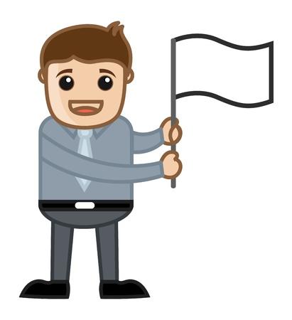 peace flag: Showing a White Peace Flag - Business Cartoon Illustration