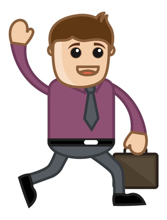 Coming From Office at Home - Business Cartoon Vector