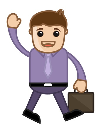 Saying Hi to Office Colleague - Business Cartoon Vector