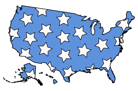 American Map filled with stars on 4th of july vector Vector