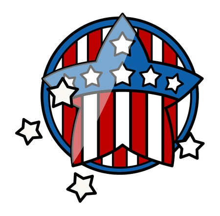 4th of July Symbol Glossy Icon Vector Stock Vector - 22000170