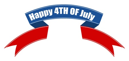 happy 4th of july ribbon banner Stock Vector - 22000179