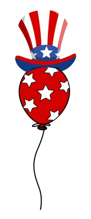 sam: 4th of july uncle sam hat on balloon vector Illustration