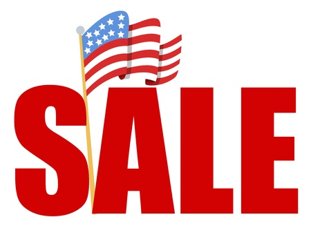 alert ribbon: 4th of july Vector - sale text with Flag of America Illustration