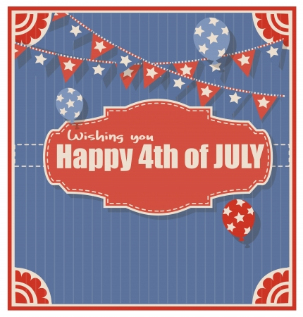want: vintage old - 4th of july Vector - greeting background
