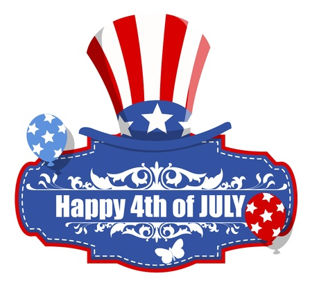 uncle sam hat: happy 4th of july decorative banner Illustration