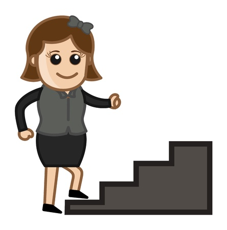 climbing stairs: Woman Climbing Stairs - Cartoon Business Vector Illustrations