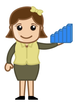 Woman Holding a Statistic Graph Bar Toy - Cartoon Business Vector Illustrations Stock Vector - 22067710