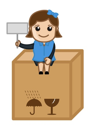 Girl Sitting on Delivery Box - Cartoon Business Vector Illustrations Vector