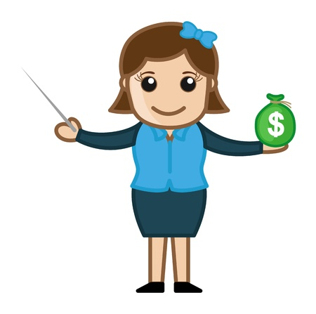 woman holding money: Investing Your Money - Cartoon Business Vector Illustrations