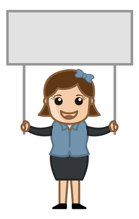 Female with a Blank Info Banner - Cartoon Business Vector Illustrations Vector