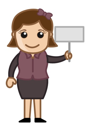 Holding a Small Banner - Cartoon Business Vector Illustrations Vector