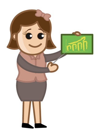 Girl Showing Public Education Statistics - Cartoon Business Vector Illustrations Stock Vector - 22061391