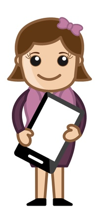 Woman Holding Tablet Mobile Device - Cartoon Business Vector Illustrations Vector