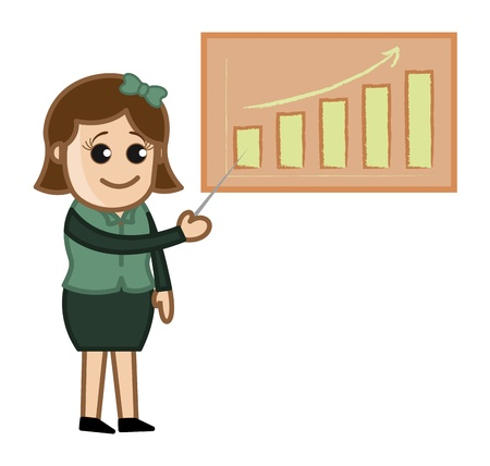 Female Presenting on Projector - Cartoon Business Vector Illustrations Stock Vector - 22061390