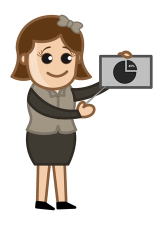 Girl Explaining Stats - Cartoon Business Vector Illustrations Vector