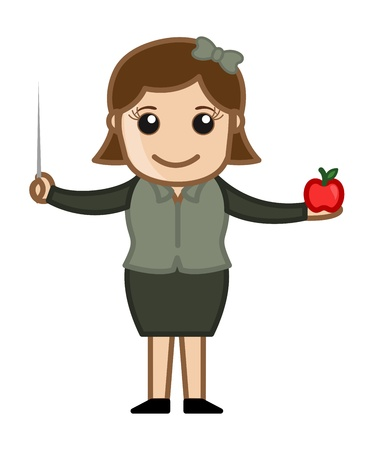 Primary School Teacher - Cartoon Business Vector Illustrations Vector
