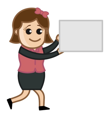 Woman Showing Blank Banner - Cartoon Business Vector Illustrations Vector