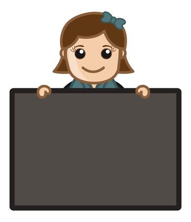 Girl Holding Blank Board - Cartoon Business Vector Illustrations Vector