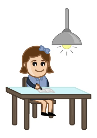Girl Studying at Late Night - Cartoon Business Vector Illustrations Stock Vector - 22061342