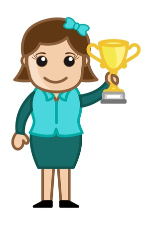 won: Girl Won a Trophy Cup - Cartoon Business Vector Illustrations