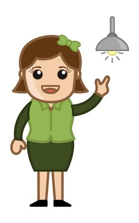 Girl Got an Idea - Bulb Concept - Cartoon Business Vector Illustration Stock Vector - 22061338