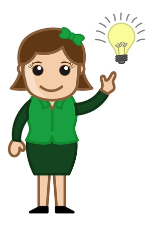 Idea Bulb - Girl - Cartoon Business Vector Illustrations Stock Vector - 22061339