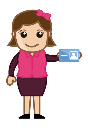 inspector kid: Girl Showing Her Identity Card - Cartoon Business Vector Illustrations