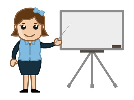 Business Woman Presentation on White Board - Cartoon Business Vector Illustrations Vector