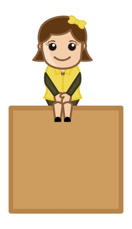 Sweet Little Girl Sitting on a Banner - Cartoon Business Vector Illustrations Vector