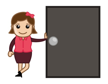 promotion girl: Girl Standing with a Door - Cartoon Business Vector Illustrations