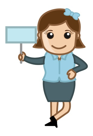 Girl Showing Board - Cartoon Business Vector Illustrations Vector