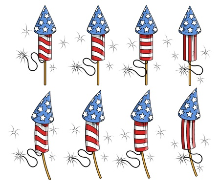 USA Freedom celebration fireworks Vector